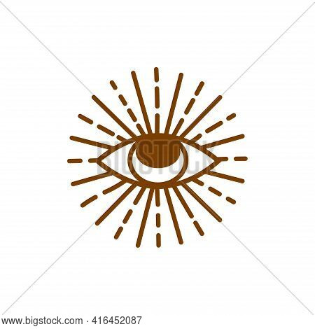 Evil Eye Pastel Isolated. Magic, Witchcraft, Occult Symbol. Hamsa Eye, Karma, Magic Eye, Decorative