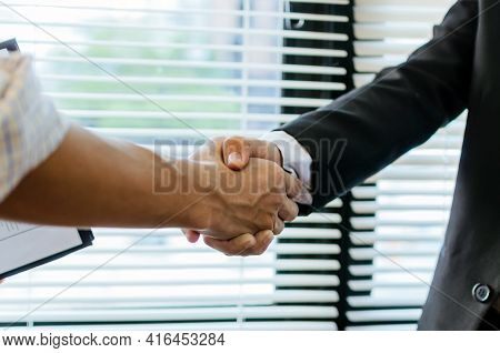 Partnership. Two Business People Investor Handshake Deal With Partner After Finishing Up Business Me