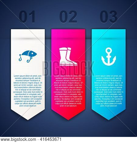 Set Fishing Lure, Boots And Anchor. Business Infographic Template. Vector