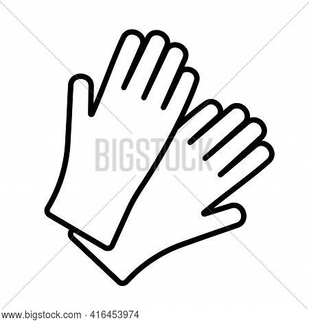 Vector Protective Rubber Hypoallergenic Gloves Line Icon. Symbol And Sign Illustration Design. Prote