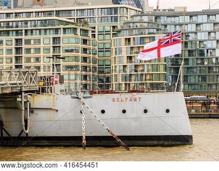 Hms Belfast Flying The Flag At Half Mast In Honour Of The Death Of Prince Philip, The Duke Of Edinbu