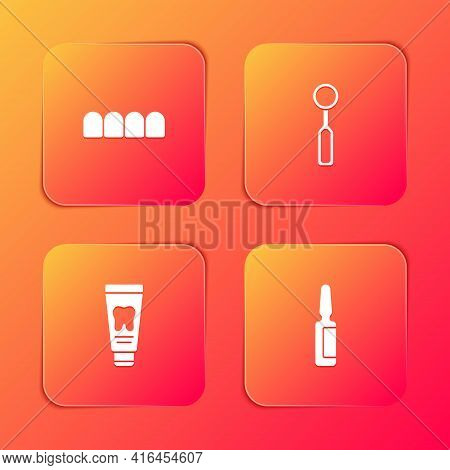 Set Dentures Model, Dental Inspection Mirror, Tube Of Toothpaste And Painkiller Tablet Icon. Vector