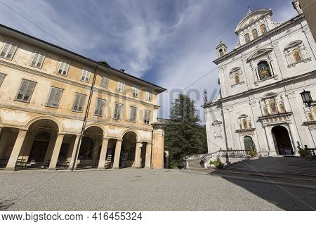 Varallo, Italy - August 17, 2020: View Of The Church At Varallo Holy Mountain