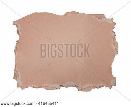 Cardboard Sheet Torn From A Box Isolated On White Background With Copy Space. Blank Raw Carton Banne