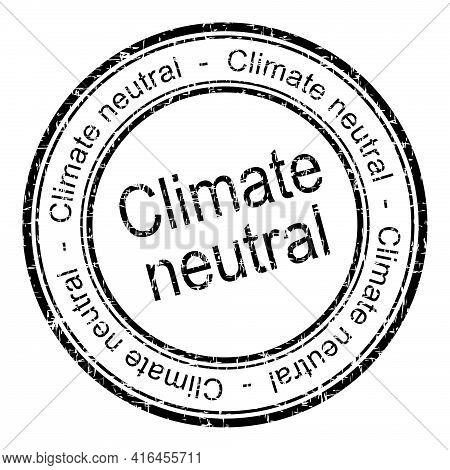 Climate Neutral Rubber Stamp Black - Illustration