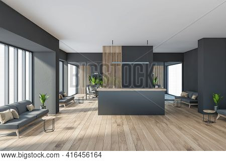 Dark Modern Minimalist Office Room Interior With Cozy Couches, Wooden Parquet Floor, Panoramic Windo