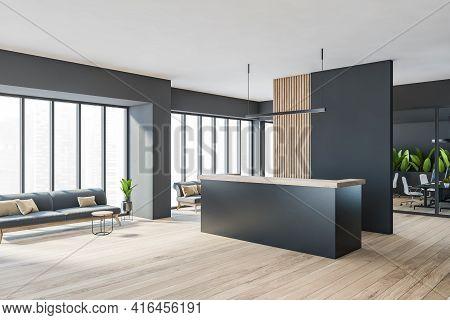 Dark Minimalist Office Room Interior With Cozy Couches, Wooden Parquet Floor, Panoramic Window, Rece