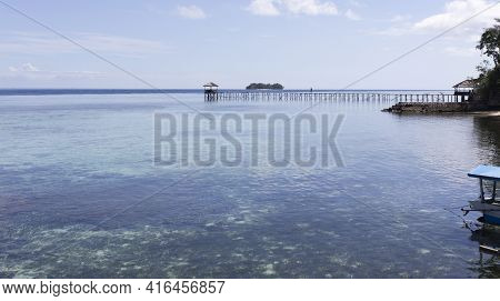 Togian Islands, Indonesia - August 21, 2017: View Of Pier At Kadidiri In Tropical Island