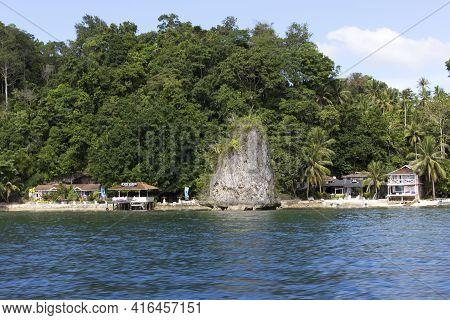 Togian Islands, Indonesia - August 21, 2017: Arriving At Kadidiri In Tropical Island