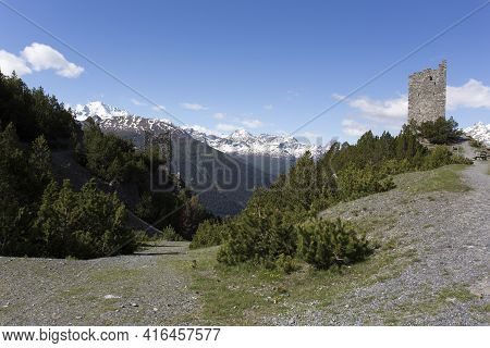 Bormio, Italy - May 31, 2020: View Of Torri Di Fraele In Mountain Close To Bormio