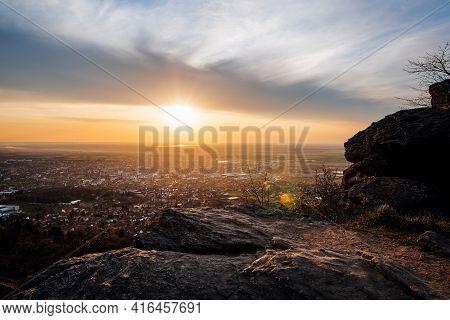 Sunset Landscape. Sunset Landscape Over Small Town. Nature Landscape. Sunset In Mountain Landscape.