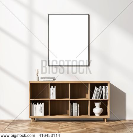 Bright Cozy Living Room Interior With Empty White Poster On The Wall, Bookcase With Vase And Books,