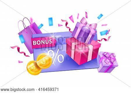 Customer Loyalty Program, Vector Bonus Gift Card Illustration, Present Boxes, Shopping Bags, Coins.