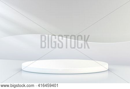 Stage Podium With Lighting, Stage Podium Scene With For Award Ceremony On Grey Background. Vector