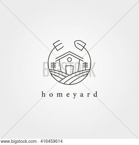 Home Yard Landscape Garden Logo Vector Design, Farmhouse Minimal Logo Design