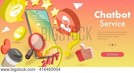 3d Vector Conceptual Illustration Of Chat Bot.
