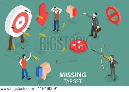 3d Isometric Flat Vector Conceptual Illustration Of Missing Target.