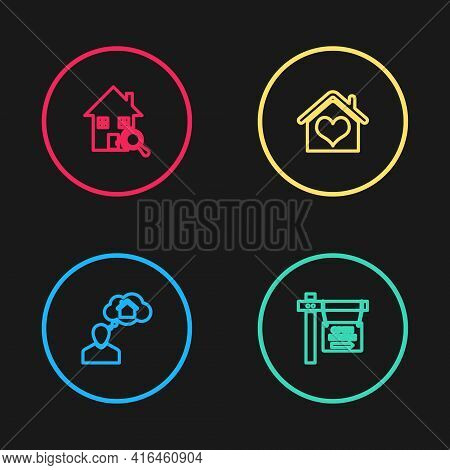 Set Line Man Dreaming About Buying House, Hanging Sign With Open, House Heart Shape And Search Icon.