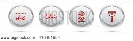 Set Line Sunken Ship, Cannon With Cannonballs, Pirate Captain And Wooden Pirate Leg. Silver Circle B