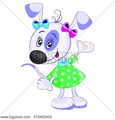 Dog Character In Green Dress And With Bows, Isolated Object On White Background, Vector Illustration