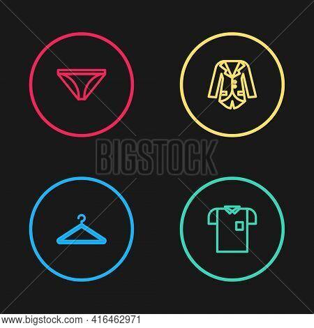 Set Line Hanger Wardrobe, Polo Shirt, Blazer Or Jacket And Men Underpants Icon. Vector