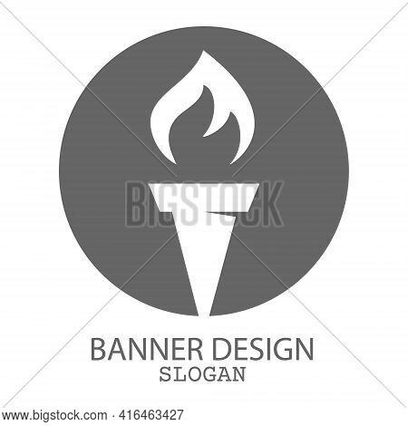 Torch. Vector Template For A Logo, Emblem Or Sticker, Isolated On A White Background. Flat Style.