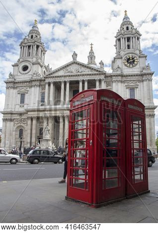 London, Uk - May 20, 2017. Red Phonebox In Front Of St Pauls Cathedral, London, England, Uk, May 20,