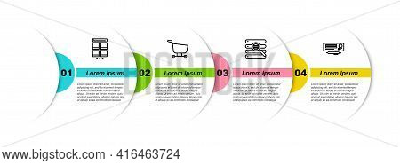 Set Line Online Shopping On Mobile, Shopping Cart, Search Browser Window And Bank Check And Pen. Bus