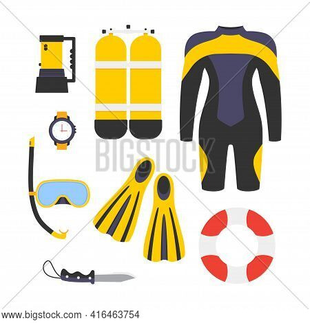 Diving Equipment Set Collection Of Scuba Diving, Aqualung Oxygen Cylinders, Diving Costume, Watch, F