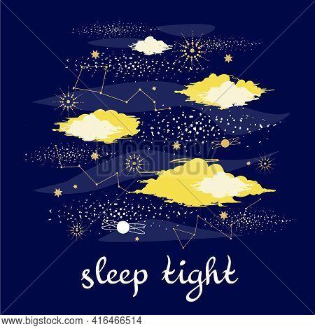 Night Clowds Print Sleep Tight With Stars