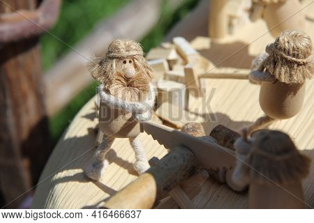 Vologda, Russia, June 10, 2012.symbolic Dolls Of The Slavs, Made By Hand.wooden Dolls-figurines Of P