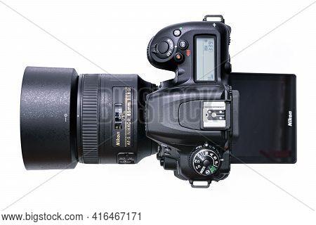 Krakow, Poland - April 09, 2021: Top View Of A New Nikon D7500 Dslr Camera With Nikkor 85mm F1,8 Len