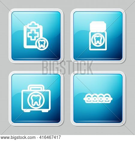 Set Line Dental Card, Painkiller Tablet, First Aid Kit And Teeth With Braces Icon. Vector