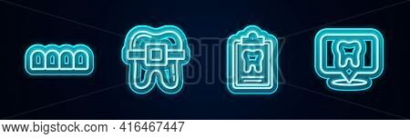 Set Line Dentures Model, Teeth With Braces, Dental Card And Clinic Location. Glowing Neon Icon. Vect