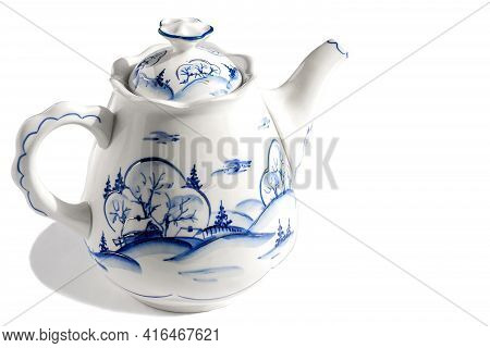 Brewing Earthenware Stylish Teapot On An Isolated White Background.
