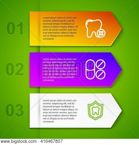 Set Line Tooth With Caries, Painkiller Tablet, Dental Protection And Toothbrush. Business Infographi