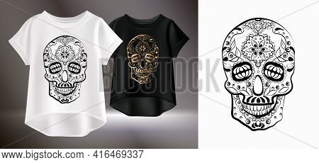 Isolated Image Of A Sugar Skull. Original T-shirt Print. Vector Realistic Image Of A Female T-shirt