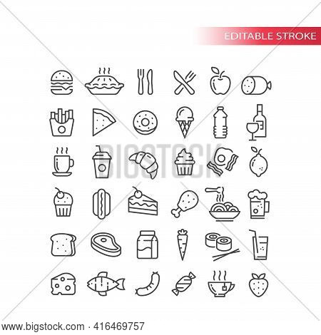Fast Food, Drink And Groceries Line Vector Icon Set. Eggs, Bacon, Burger Fries Outline Symbols, Edit