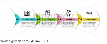 Set Line Taj Mahal, India Constitution Day, Chakra And Indian Shoes. Business Infographic Template.