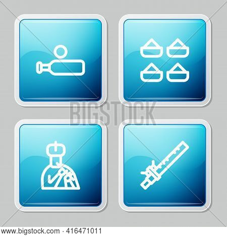 Set Line Wood Cricket Bat And Ball, Indian , Man Plays Flute And Bamboo Indian Icon. Vector