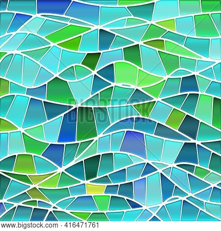 Abstract Vector Stained-glass Mosaic Background - Green And Blue