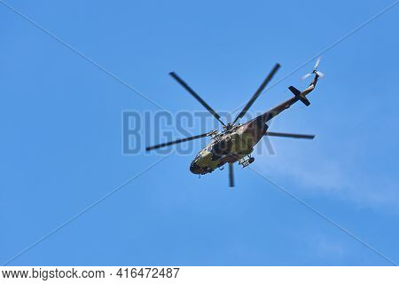 Mi-17 Military Helicopter Of The Serbian Airforce In Flight In Belgrade, Serbia On April 10, 2021