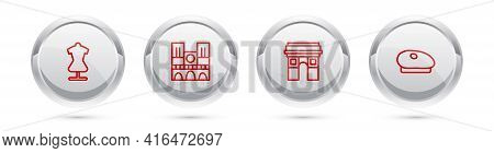 Set Line Mannequin, Notre Dame, Triumphal Arch And French Beret. Silver Circle Button. Vector