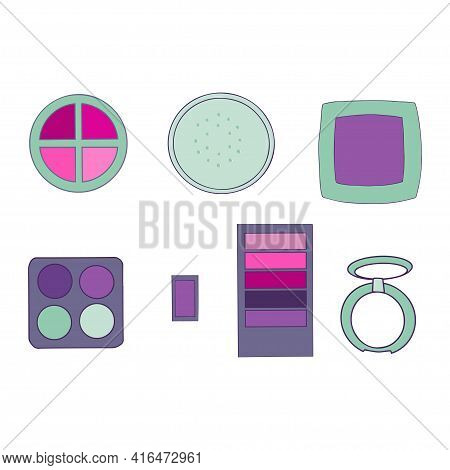 Eye Shadow Set Isolated On White Background. Makeup Collection. Vector.