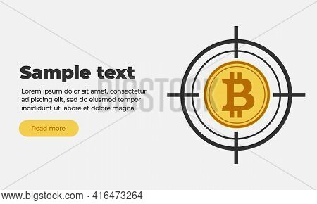 White Red Grey Orange Web Banner Template With Text, Read More Button And Flat Coin Virtual Crypto C