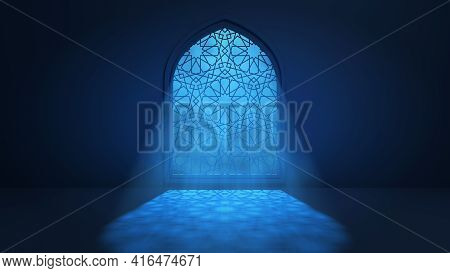 Moon Light Shine Through The Window Into Islamic Mosque Interior. Ramadan Kareem Islamic Background.