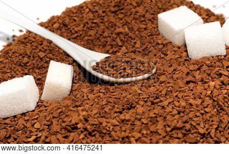 Coffee. A Spoon With Coffee Granules. Instant Coffee Close-up.