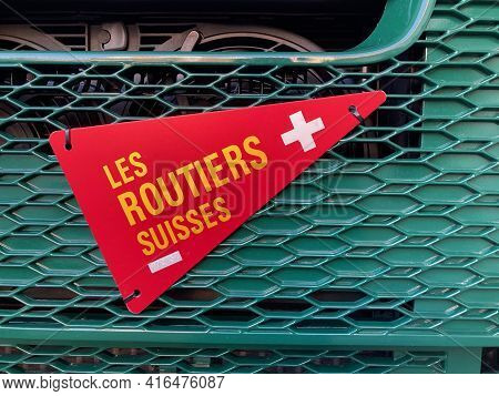 Sorengo, Ticino, Switzerland - 8th March 2021 : Le Routiers Suisses Sign Hanging On A Truck. Le Rout