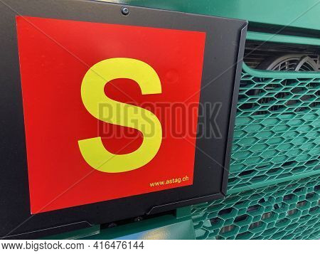 Sorengo, Ticino, Switzerland - 8th March 2021 : Close Up Of A Swiss S Truck Permission Sign Hanging