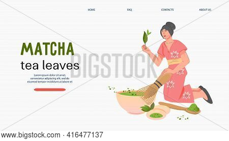Matcha Green Tea Website Banner Template With Woman Brewing Tea, Flat Vector Illustration On White B